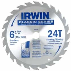 "Irwin 15120 6-1/2"" 24T x Universal Arbor Circular Saw Blade for Wood-Carded"