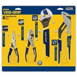 "Irwin 2078705 4 Pc. Traditional Pliers Set - 6"" Long Nose, 6"" Slip Joint, 10"" Adj Wrench & 10"" Groove Joint"