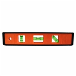 "Johnson Level - Torpedo Levels: 7500-ORANGE 9"" Orange Structo-Cast® Torpedo Level – 3 Vial"