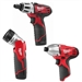The Milwaukee 2490-23 - 2450 Impact Driver, 2401 Screw/Micro Driver, 49-24-0145 Cordless Flashlight - M12 Lithium-Ion 3-Tool Combo Kit