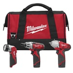 "Milwaukee Tool 2491-23  3-Tool Combo Kit includes the Screwdriver (2401-20), 3/8"" Square Drive Impact Wrench (2451-20), and Work Light (49-24-0145)."