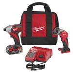Milwaukee 2656-21L M18 18V Cordless Lithium-Ion 1/4 in. Hex Impact Driver Kit with Free LED Work Light