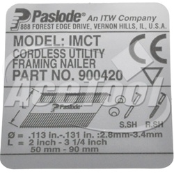 PASLODE 901260 NAMEPLATE - (CT)