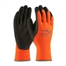 Protective Industrial Products 41-1400 Powergrab Thermo Hi-Vis Orange Glove Acrylic Terry Shell Brown Microfinish Grip