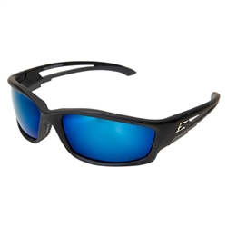 Edge TSKAP218 Kazbek Polarized - Black / Aqua Precision Blue Mirror Lens
