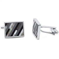 Brass Rectangular Cufflink with Black Stripe Mother Pearl - Rhodium Plated