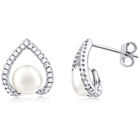 Silver Freshwater Pearl Earring with CZ