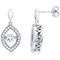 Silver Earring With Dancing CZ