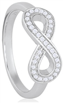 Silver Infinity Ring with Micro Set CZ
