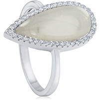 Silver Ring with Cubic Zirconia And Glass Moonstone Imitation
