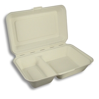 "StalkMarket Compostable Bagasse Clamshell 9"" x 6.5"" x 3"""