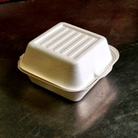 "EcoSource Compostable Bagasse Clamshell 6"" x 6"" x 3"""