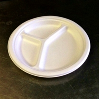 "EcoSource Compostable Bagasse 10"" 3-Compartment Round Plate"