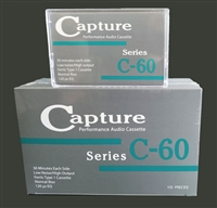 Capture C-60 cassette tape in cartons available at Splicit Reel Audio Products