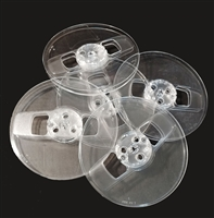 "Group of 1/4"" x 7"" Audio Tape 2-Window Plastic Audio Reels in Clear"