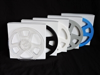 "Brand new 1/4"" x 7"" Plastic Audio Tape Reels with white setup box in colors black, blue, clear, white and silver"