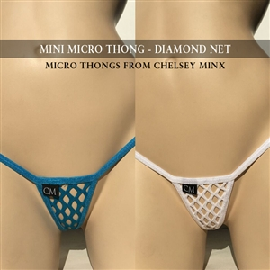 Mini Micro Thong - Diamond Net - Black
