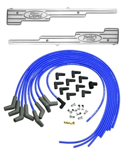 FORD RACING 9MM BLUE UNIVERSAL IGNITION WIRE SET WITH BILLET FORD OVAL LOGO WIRE LOOMS -- M-12259-C302K
