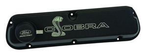 "LASER ETCHED BLACK ""COBRA"" VALVE COVERS -- M-6582-LE302SBK"