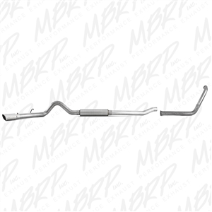 "MBRP 2003-2007 Ford F-250/350 6.0L, EC/CC 4"" Turbo Back, Single Side (Stock Cat) Exit, Aluminized  -- S6206AL"
