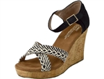 Toms Shoes Inc.: Strappy Black Woven Cork Wedge