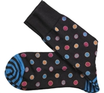 Johnston & Murphy: Framed Dots Sock Black-Turquoise