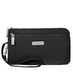 RFID Double Zip Wristlet Blk Sand Lining