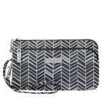 RFID Double Zip Wristlet Chevron
