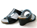 Soft Walks: Jermaine Black-Blue Wedge Mule