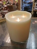 3 Wick Ivory Flameless Candle with Remote
