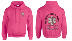 EMS Safety Pink with Metallic Print Hooded Sweatshirt