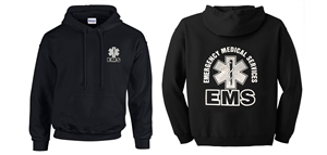 EMS Black with Metallic print Hooded Sweatshirt