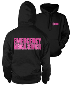 EMS Hooded Sweatshirt Black with pink Lifeline
