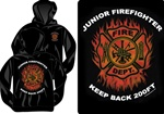 Junior Firefighter Flames Kids Hooded Sweatshirt