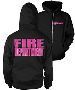 Full Zipper Hooded Sweatshirt Firefighter Lifeline Black with pink & white print
