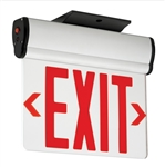 Compass Lighting CELS2RNE Edge-Lit LED Emergency Exit, 120V-277V, Surface Mount, Double Face, Red Letters, Brushed Aluminum with Battery