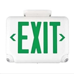 Dual-Lite EVCUGWDI Architectural LED Exit and Emergency Light, Universal Face, Green Letters, White Finish, Damp Listed, Spectron Self-Diagnostics
