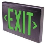 Dual-Lite EVEUGBE LED Exit Sign, Single/ Double Face, Green Letters, Black Finish, Emergency Operation, No Self-Diagnostics