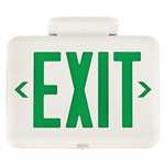 Dual-Lite EVEUGWE LED Exit Sign, Single/ Double Face, Green Letters, White Finish, Emergency Operation, No Self-Diagnostics