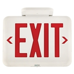 Dual-Lite EVEURWEI LED Exit Sign, Single/ Double Face, Red Letters, White Finish, Emergency Operation, Spectron Self-Diagnostics