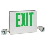 Dual-Lite HCXUGW Side Mount Designer LED Exit Sign and Emergency Light, Universal Face, Green Letters, White Finish, with 5W Halogen Lamps