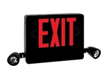 Dual-Lite HCXURB Side Mount Designer LED Exit Sign and Emergency Light, Universal Face, Red Letters, Black Finish,