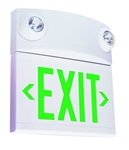 Dual-Lite LTUGW 10W Tandem Emergeny Lighting Unit and LED Exit Sign Combo, Single/ Double Face, Green Letters, White Finish, Standard Model, No Self-Diagnostics