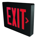 Dual-Lite LXURBE Low Profile Designer LED Exit Sign, Single/ Double Face, 120/277V, Red Letters, Black Finish, Emergency Operation, No Self-Diagnostics