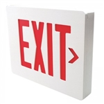 Dual-Lite SEDRWN Sempra Die Cast Exit Sign, Double Face, Red Letter Color, White Finish with Brushed Face, AC Only, No Self-Diagnostic