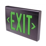 Dual-Lite SESGBN Sempra Die Cast Exit Sign, Single Face, Green Letter Color, Black Finish with Brushed Facec, AC Only, No Self-Diagnostic