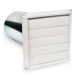 "Fantech HS6W Louvered Shutter Plastic with Tailpiece, 6"" Round Duct"