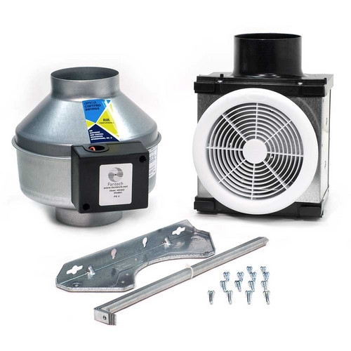 Fantech pb100 pb110 premium bathroom exhaust fan kit 110 cfm 4 inch round duct with single grille for Cost to install exhaust fan in bathroom
