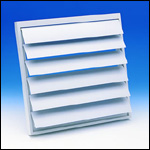 "Fantech VK35 Louvered Shutter Plastic with Tailpiece, 14"" Square Opening"