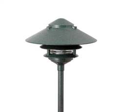 "Focus Industries AL-03-3TLED3ATV 12V 3W Omni LED Cast Aluminum 6"" 3 Tier Pagoda Hat Area Light, Antique Verde Finish"